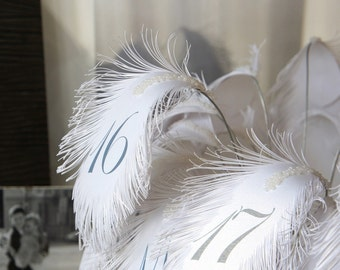 Wedding Table Numbers in ROYAL Blue (text) FEATHERs for flower arrangement