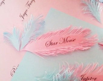 Light Pink Feather place cards - Handmade of iridescent Pink paper, Name Printing Included