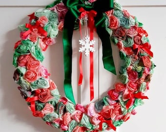 Rose Wreath for winter Christmas front door hanger | Red and Green Wreath with Snow Flake