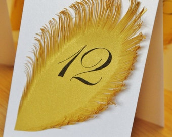 White and Gold Wedding table numbers with feather Iridescent white Tent Style / Table Markers / Table Tents