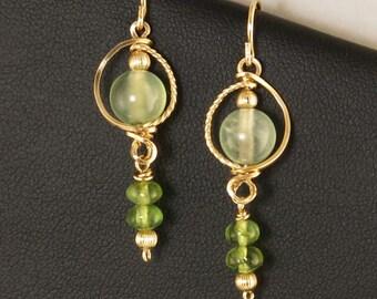 Light Green Gemstone Gold Dangle Earrings, Green Peridot and Prehnite Gemstone Wire Wrapped Gold Earrings