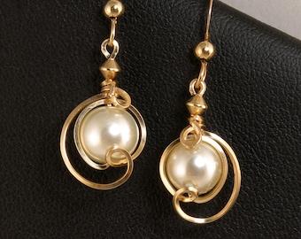 White Pearl Gold Drop Earrings, Small Dangle Majorca Pearl Wire Wrapped Earrings, Unique Asymmetrical Pearl Wire Earrings, Wedding Jewelry