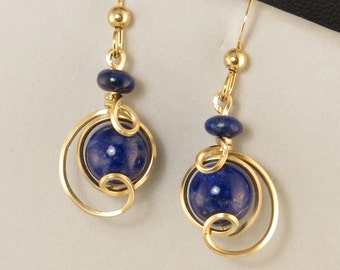 Lapis Lazuli Small Gold Drop Earrings, Unique Royal Blue Gemstone Wire Wrapped Earrings, Lapis Earrings, Available in Rose Gold and Silver