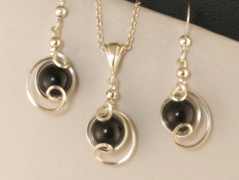 Black Gemstone Drop Pendant Chain Necklace Set Black Onyx Argentium Silver Jewelry Black Onyx Sterling Silver Necklace Jewelry Gift Set
