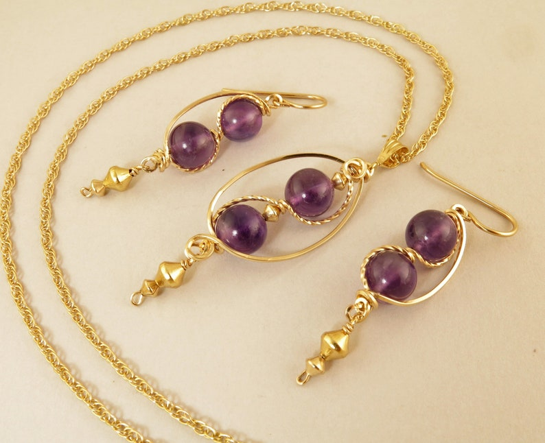 848d78c0fdce0 Amethyst Gemstone Gold Jewelry Set, Gold Filled Wire Wrapped Purple  Amethyst Pendant Necklace Gift Set For Her, Unique Real Amethyst Jewelry
