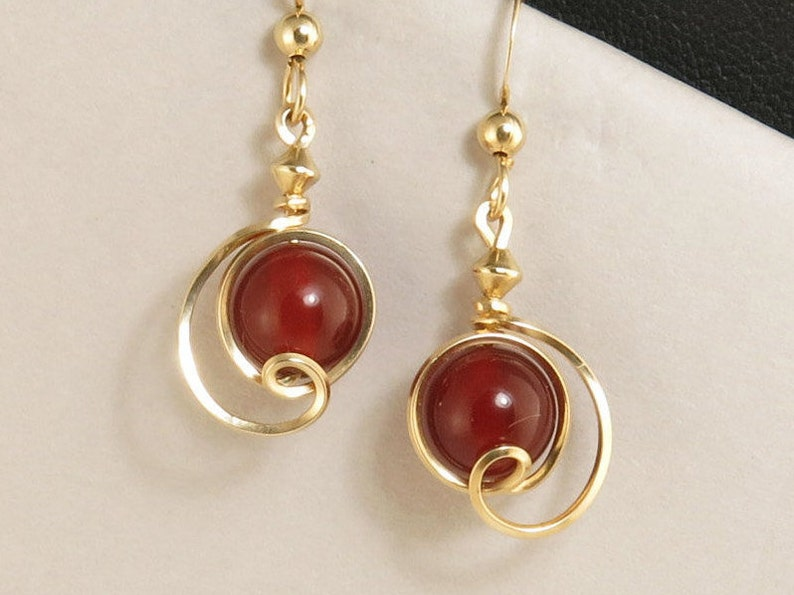 a6ee65212 Red Carnelian Stone Gold Drop Earrings Small Gold Wire   Etsy