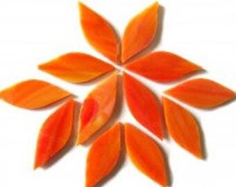 20pc. 38mm Sunburst Orange TIFFANY Iridescent Stained Glass Petal Shaped Mosaic Tiles//Mosaic Supplies//Mosaic Pieces//Crafts