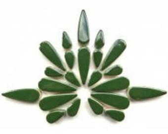 "Pesto Dark Green Glazed Ceramic TEARDROPS Mix (1"" & 1/2"") Flower Petals/Mosaic Craft Supplies"