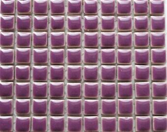 100 MINI Deep Purple Glazed Ceramic Tiles 3 8