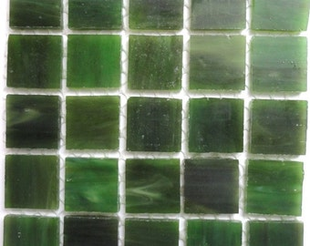 "20mm (3/4"") Moss Green TIFFANY Stained Glass  Mosaic Tiles//Spinach//Machine Cut Tiles//Mosaic Pieces//Mosaic Supplies"