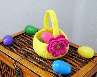 Spring Basket with Flower Crochet Pattern PDF - INSTANT DOWNLOAD