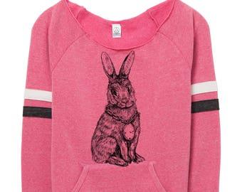 Rabbit Sweatshirt -  Womens - Pink- Sweater - Fleece - Valentines - Mothers Day - Spring - Winter -Soft - Warm