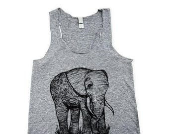 Womens Baby Elephant Tank Top - Yoga Shirt - Illustration - original  print - Heather Grey - Cute Elephant Shirt - Small, Medium, Large, XL