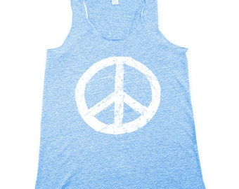 e3acdf8199d Blue Peace Sign Tank Top - BOHO - Womens Grunge Peace Sign - Gray Tank Top  - Eco-Heather Grey - Small, Medium, Large, XL