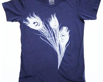 Vintage Rayon Boho Gypsystyle Peacock Fabric T-Shirt