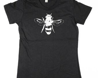 4c2f6a3304a Womens Black Bee Tshirt - Bee Tee Shirt- Eco Friendly Organic Cotton -  Small