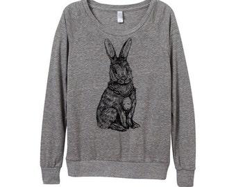 New! Rabbit Sweater  - Womens Rabbit Sweatshirt   - Small, Medium, Large, Extra Large (3 Color Options)