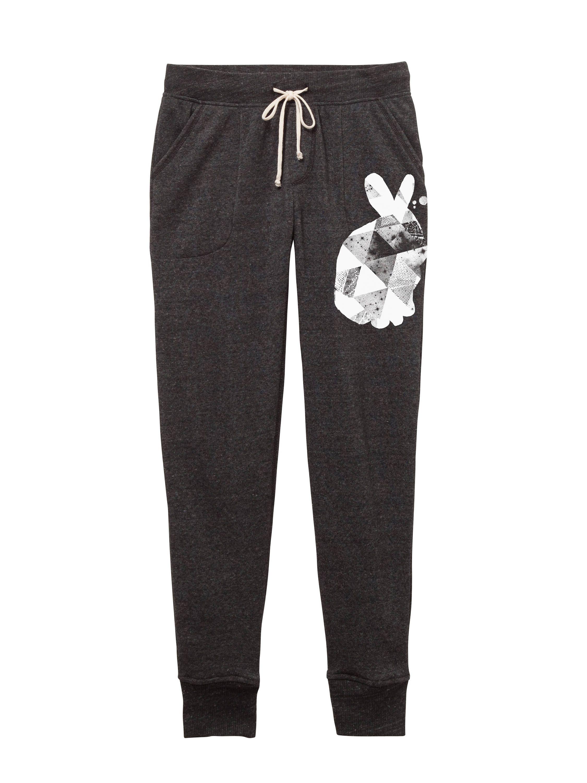 9170cbf9fd Womens Joggers - Pants -Black -rabbit - bunny - geometric - Yoga Pants -  Workout pants