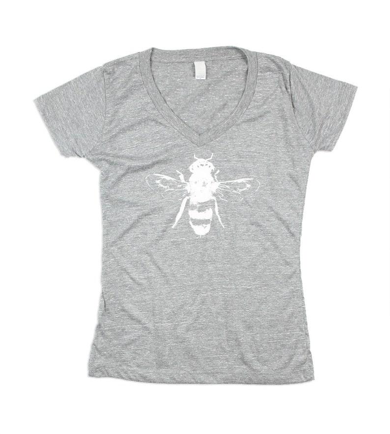 Women Bee Vneck  Womens Grey Honey Bee Tshirt  Grey Bee image 0