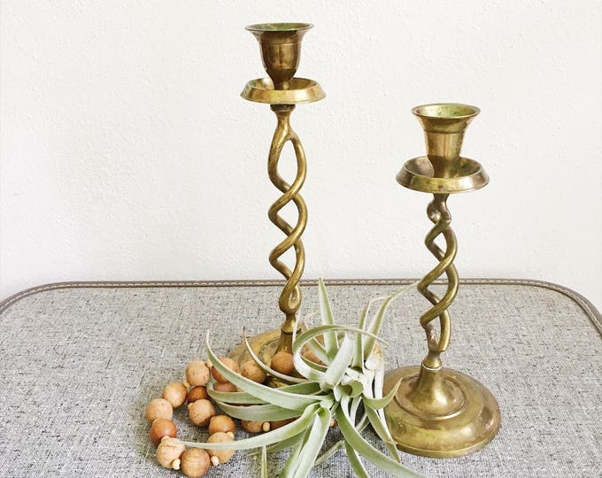 Brass Candlesticks Wedding Decor Set of 2