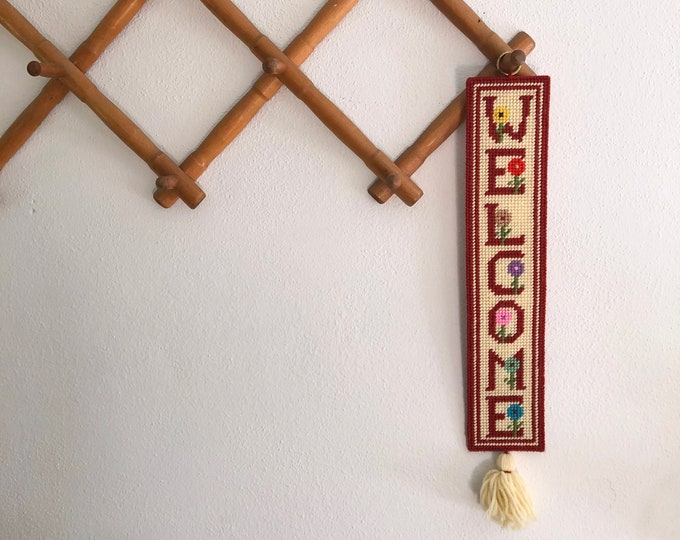 "Needlepoint ""Welcome"" door or wall hanger with flower design"