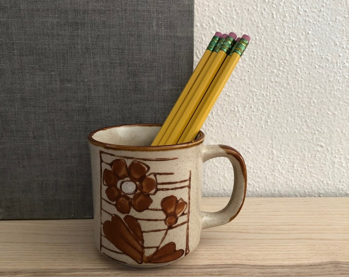 Free Shipping - Brown Ceramic Mug with Flower Motif