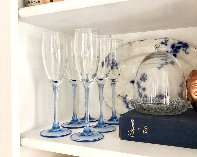 Blue Stem Champagne Flutes - set of 6
