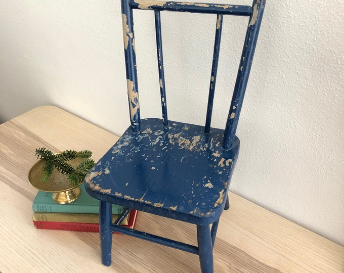 Very Chippy Little Blue Chair