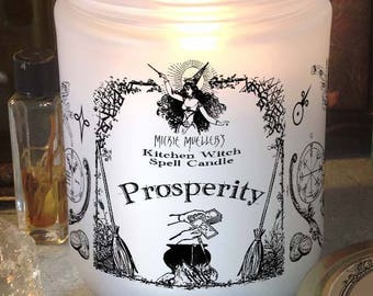 Prosperity Kitchen Witch Candle Jar, Herb Dressed Candle Included
