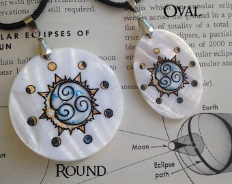 Solar Eclipse Sigil Amulet, Mother of Pearl, Free Cord, By Mickie Mueller