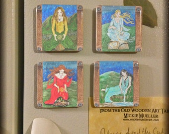 Porcelain Magnets, Set of Four Elements, Earth, Air, Fire, Water from The Well Worn Path