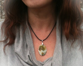 Goddess Brighid Mother of Pearl Oval Amulet by Mickie Mueller