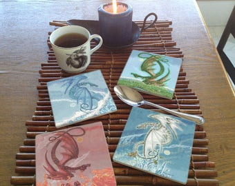 Set of 4 Elemental Dragons Coasters