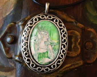 Porcelain Cameo Style Pendant, Titania Faerie Queen Art and Free Cord