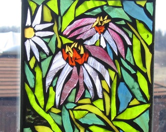 Mosaic Coneflowers -   Stained Glass SunCatcher or wall Decoration