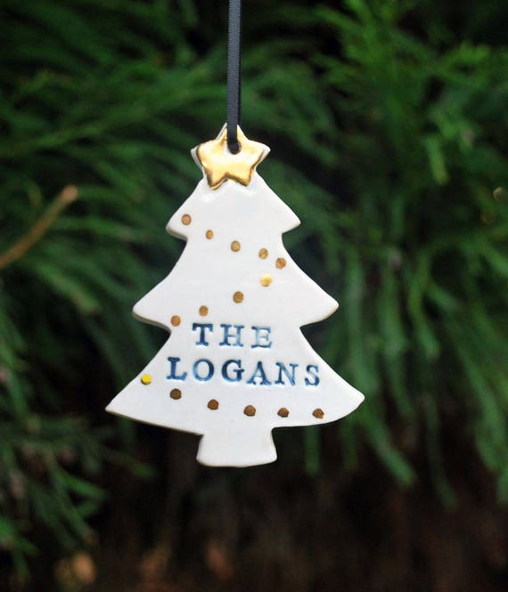 image 0 - Christmas Tree Shaped Family Ornament Custom Last Name Gold Etsy