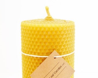 "3x6"" Beeswax Candle  - Rolled Beeswax Candle - Eco Friendly Candle - Optional Gift Box"