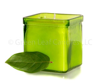 Fragrance/Dye Free Candle - Soy wax Container Candle - Lime Green Recycled Glass Candle Holder