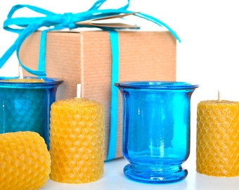 Beeswax Candle Gift Set - Blue