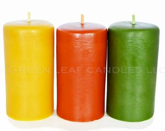 Beeswax Candle - Natural Beeswax Eco Friendly. Burgundy or Hunter Green