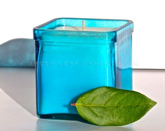 Recycled Glass Soy Container Candle - Modern Aqua Blue