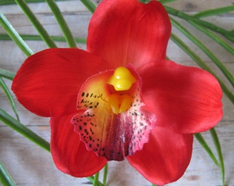 Hawaiian Red Orchid  hair Flower clip