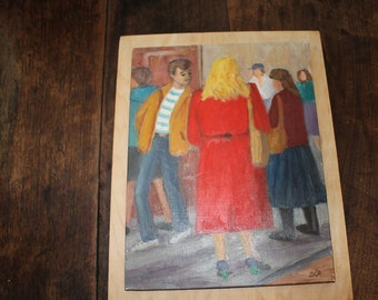 Eunice Agar 'The Red Coat' Small Oil Painting on Panel - Signed Original