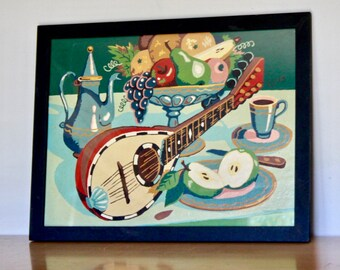 """PBN Mandolin Still Life Oil Painting - 16 x 12"""" Vintage Paint by Number with Black Frame - Retro Decor Collectible"""