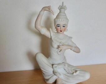 "Thai Siamese Temple Dancer Porcelain 9"" Figurine 1950s - White Ceramic Statue Altar Buddhist"