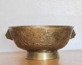 Chinese Brass Censer Bowl 7.5 quot w Foo Dog Lion Handles - Incised Dragon- Ming Xuande Reign Mark _ Old Vintage or Antique Incense Burner