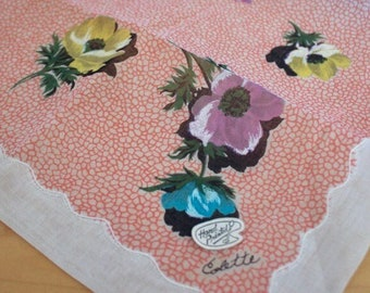Vintage Colette Handkerchief Never Used Hand Painted