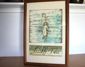 """Vintage 1997 Lilith Fair Print Lithograph 22 x 15"""" Framed"""
