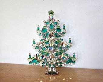 "Very Large Mantle Christmas Tree 13.25"" Tabletop - Czech Aqua Rhinestone"