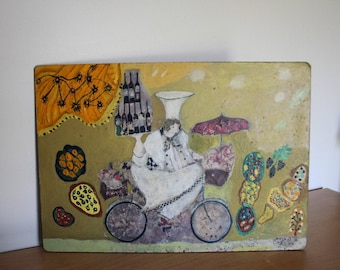 """Painting French Bicycle Chef Patisserie """"Wine Peddler"""" Baguettes"""